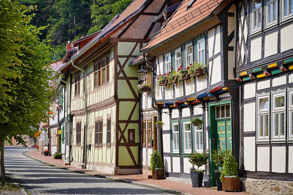 Stolberg (Harz) - Gasse mit Fachwerkhäusern
